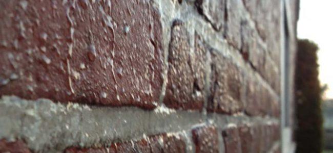 Doorslaand vocht op muur.