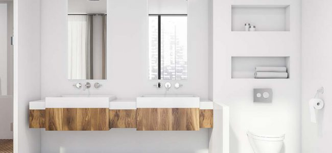 Moderne, witte badkamer.