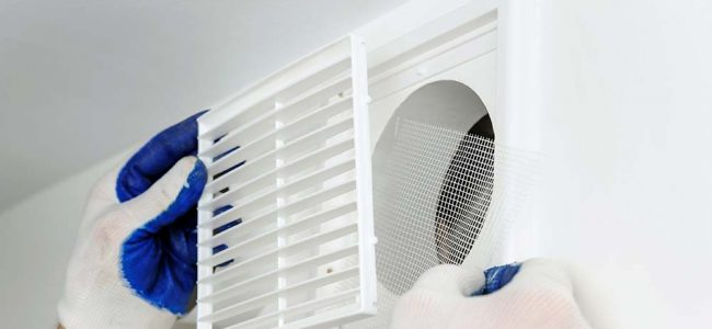Man die haas voor ventilatiegat plaatst
