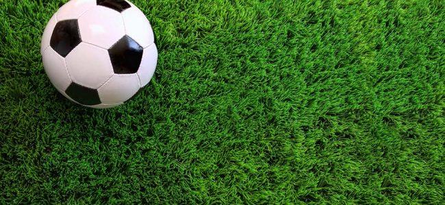 Kunstgras met een wit/zwarte voetbal