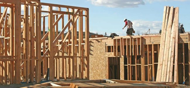 Man die werkt aan een houtskeletbouw